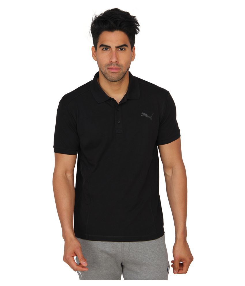 Puma Black Cotton Polo T-Shirt