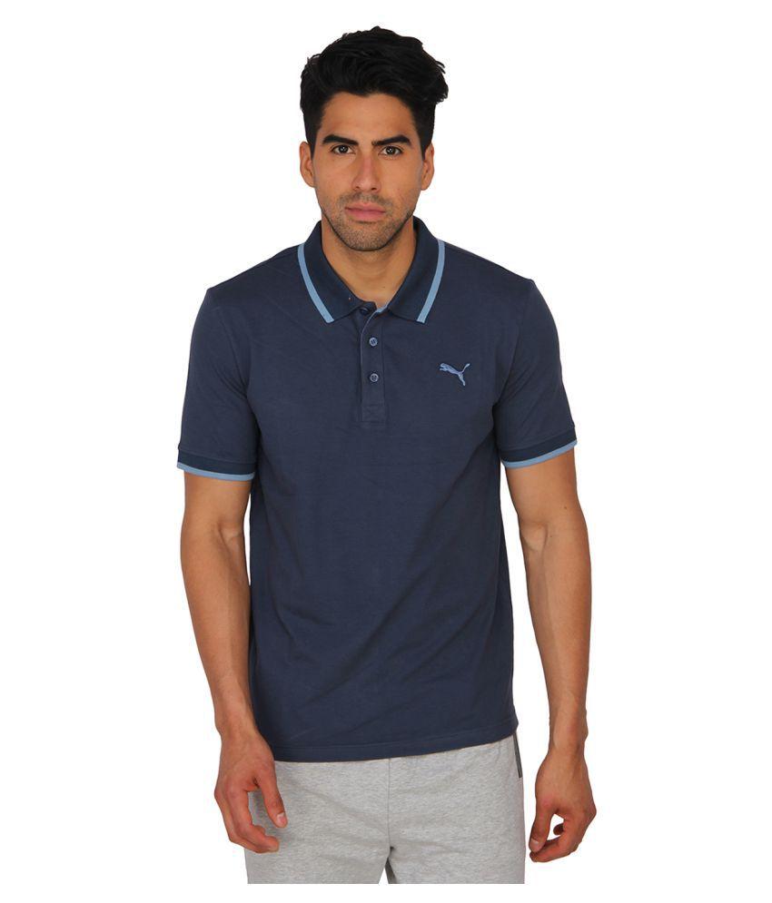 Puma Blue Cotton Polo T-Shirt