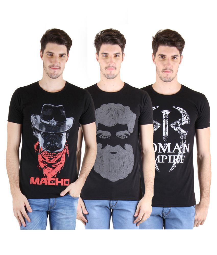 Incynk Black Round T-Shirt Pack of 3