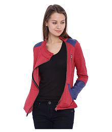 Campus Sutra Maroon Cotton Quiltted Jackets
