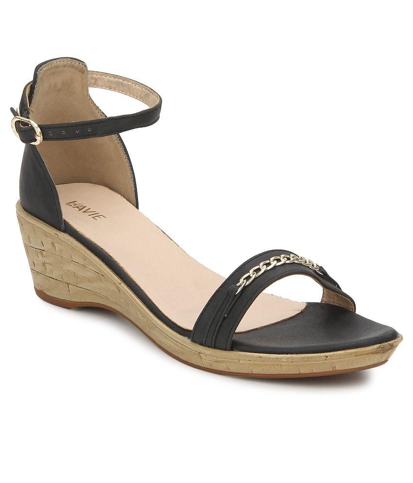 237235d8f068 Lavie Black Wedge Heels Price in India- Buy Lavie Black Wedge Heels Online  at Snapdeal