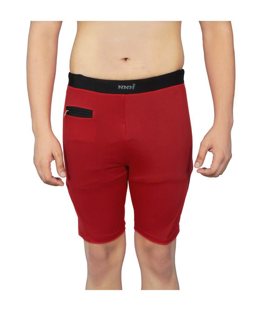 NNN Red Knee Length Lycra Men's Swimming Trunk/ Swimming Costume