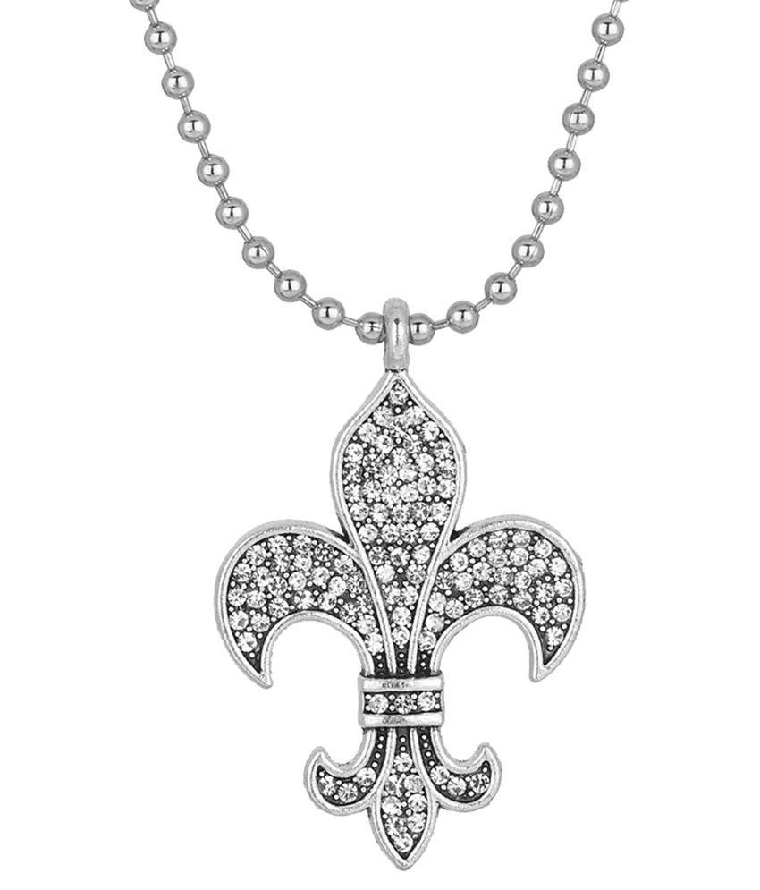 Voylla Silver Alloy Pendant With Chain