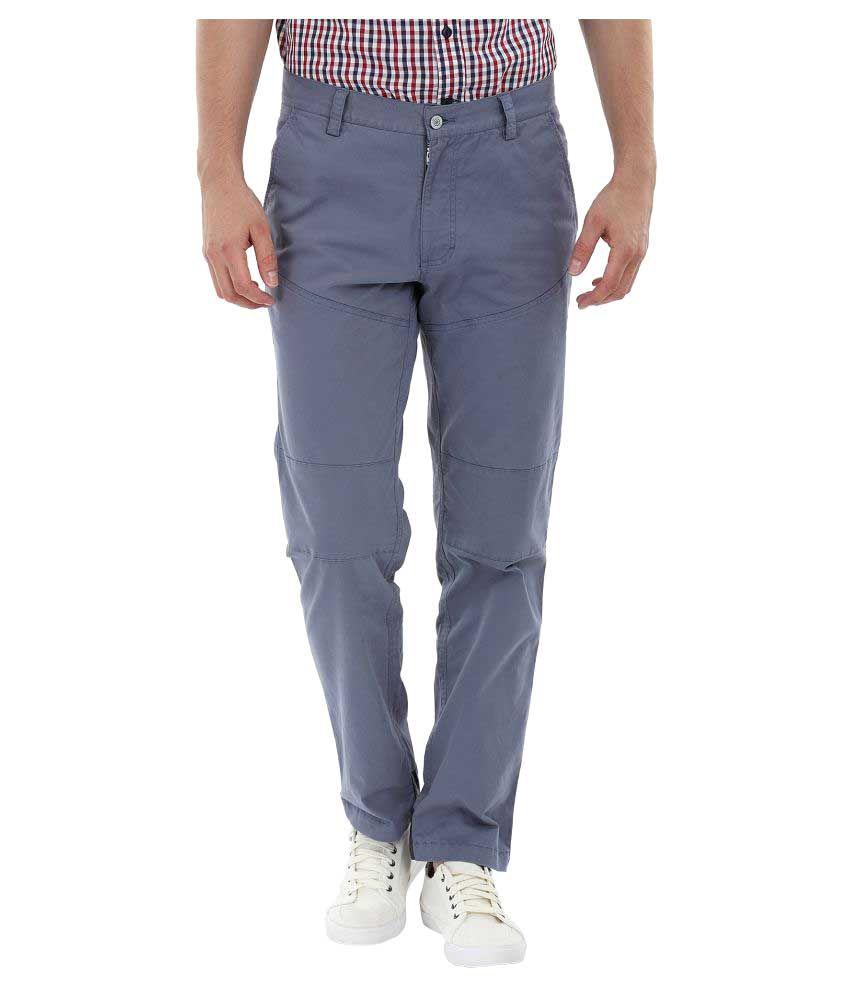 Zobello Blue Slim Flat Trouser