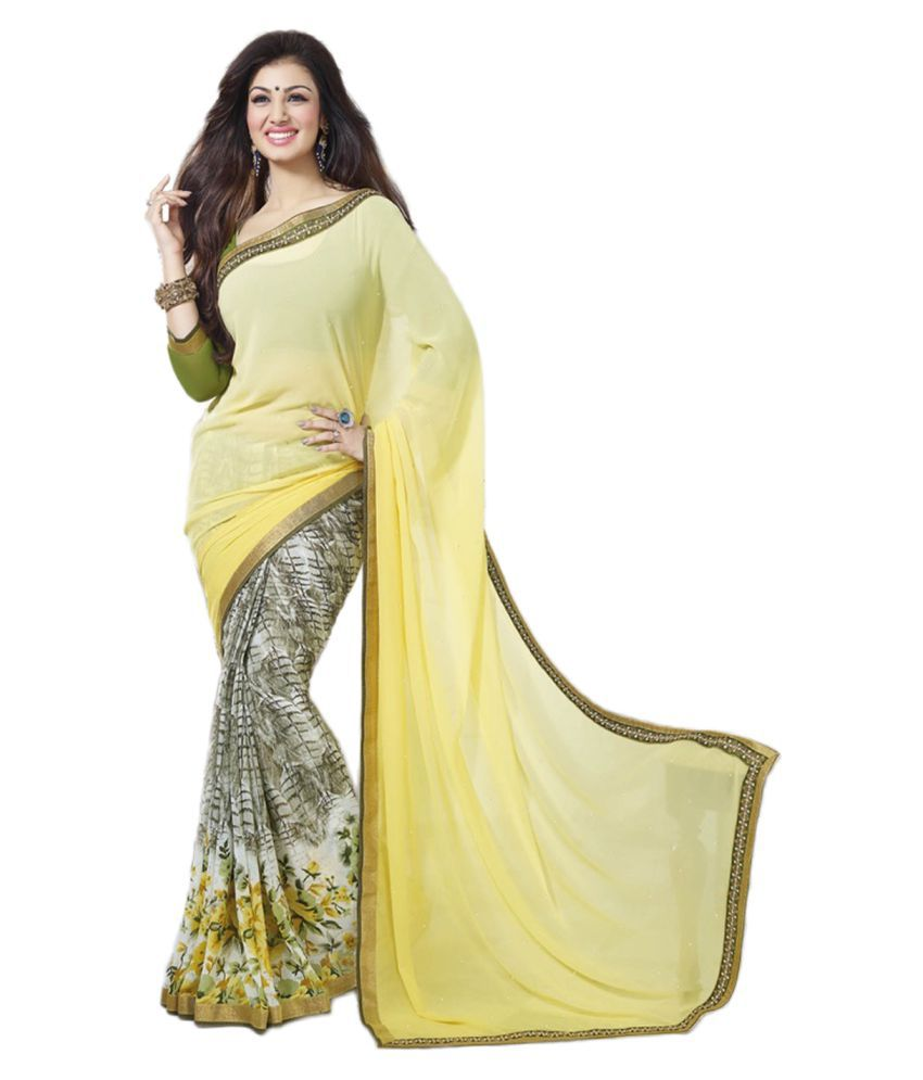 Vency Creation Yellow and Beige Georgette Saree