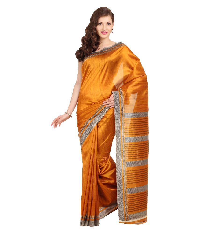 Satrang Orange Art Silk Saree