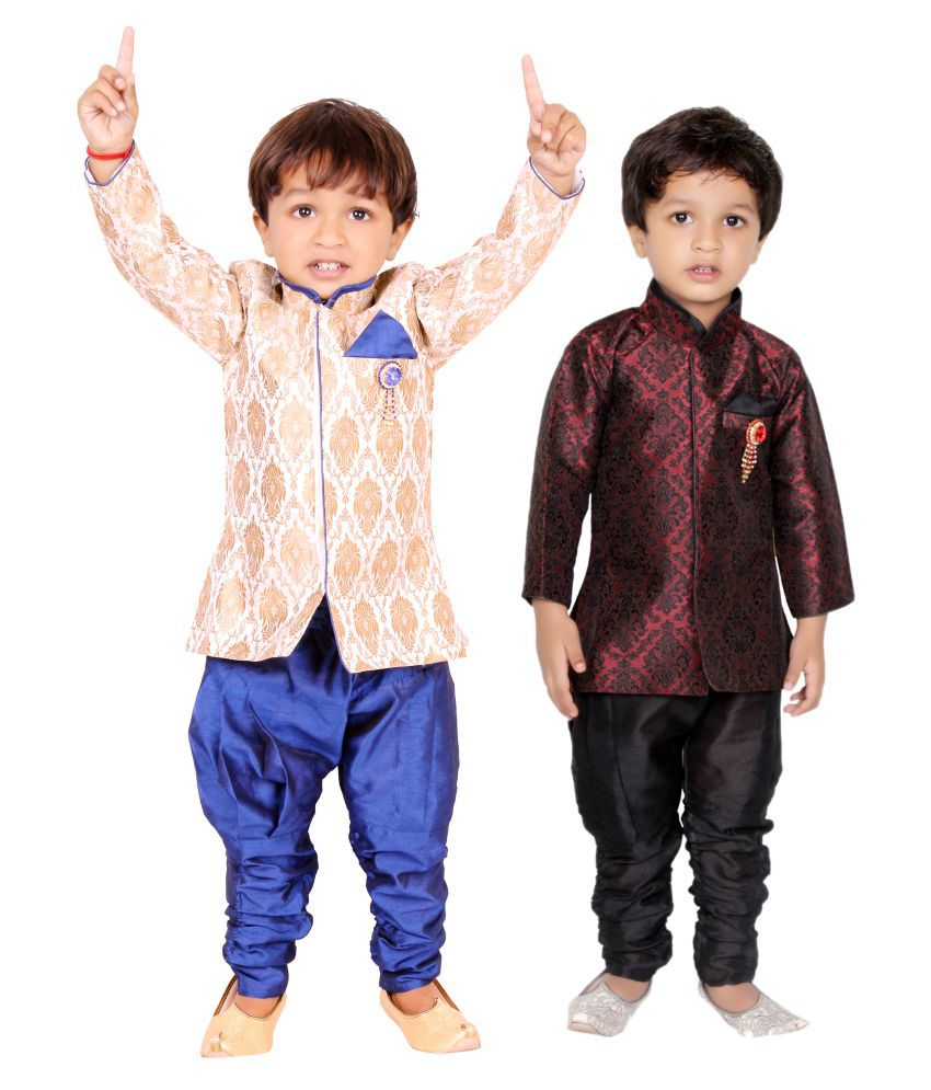 Tiny Toon Multicolour Cotton Indo-Western Set - Pack of 2