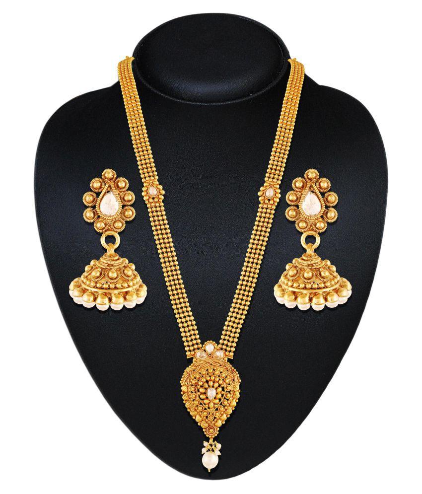Accessher Golden Brass Necklace Set