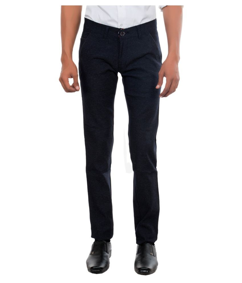 Killox Dark Blue Regular Flat Trouser