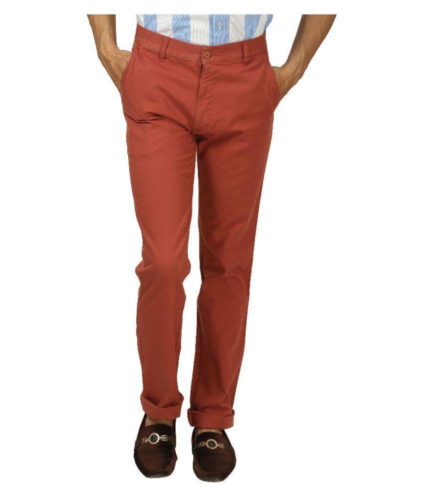 Koutons Outlaw Red Regular Flat Trouser