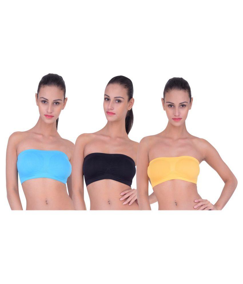 Piftif Multi Color Cotton Lycra T-Shirt/ Seamless Tube Bra - Pack of 3