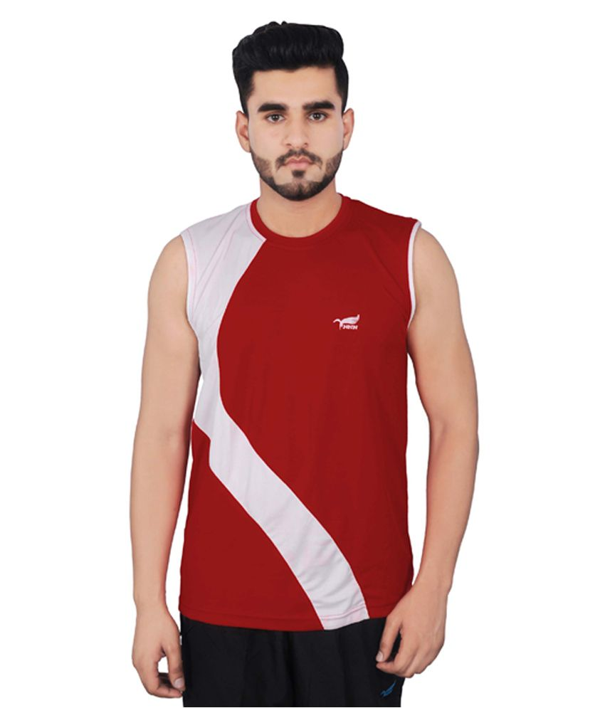 NNN Red Sleeveless Dry Fit Men's T-shirt