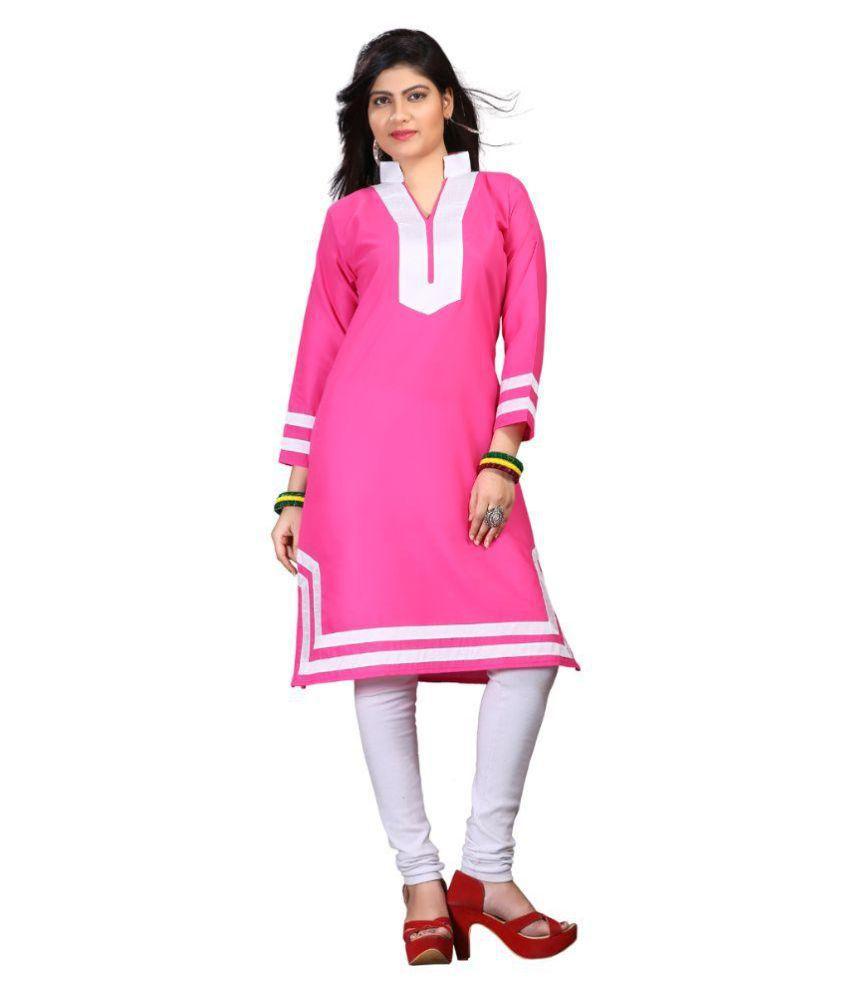 Vama Western World Pink Cotton Straight Abstract Kurti