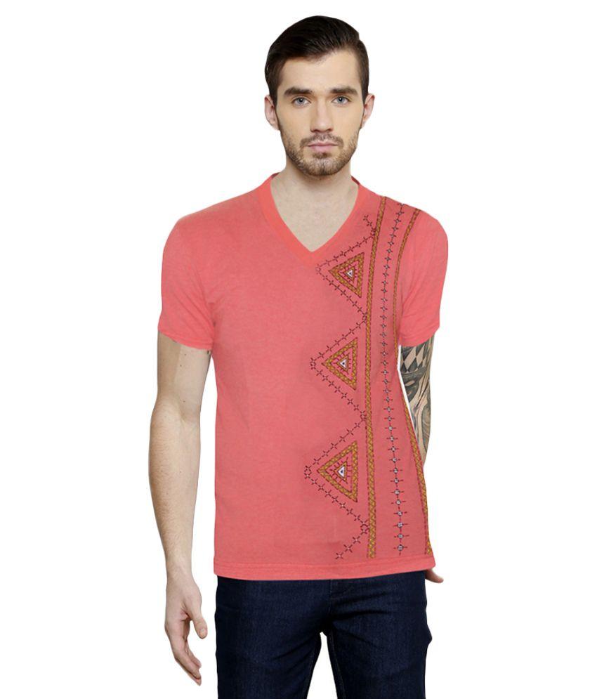 Rang Rage Peach V-Neck T-Shirt