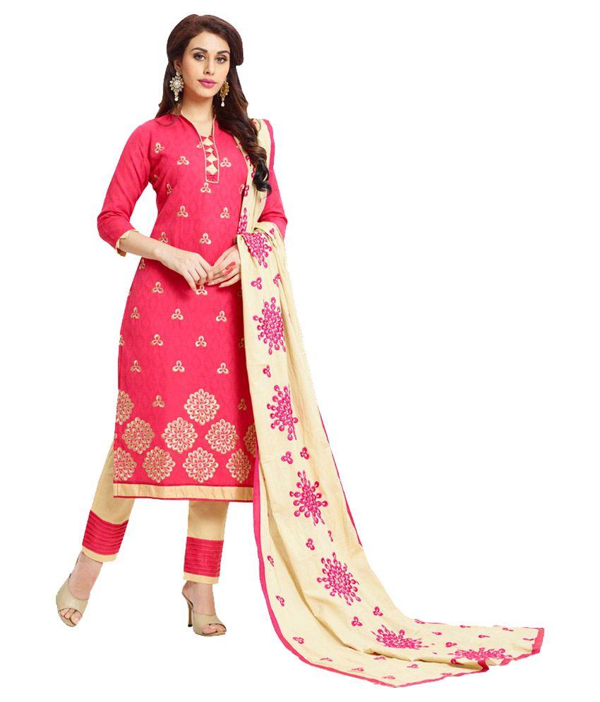 Fabvila Pink Jacquard Dress Material