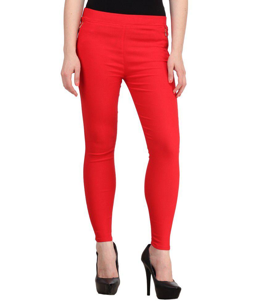Sritika Red Cotton Lycra Jeggings