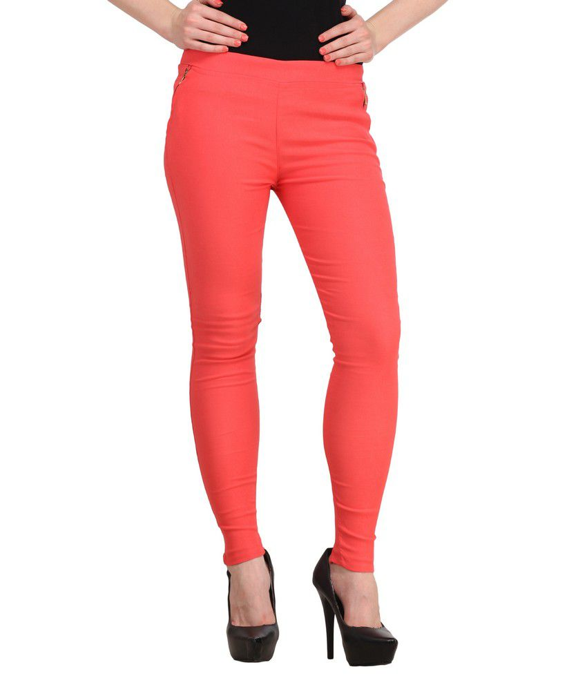 Sritika Red Cotton Lycra Jeggings