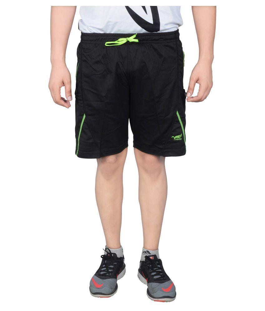 NNN Men's Black Knee Length Dry Fit Shorts