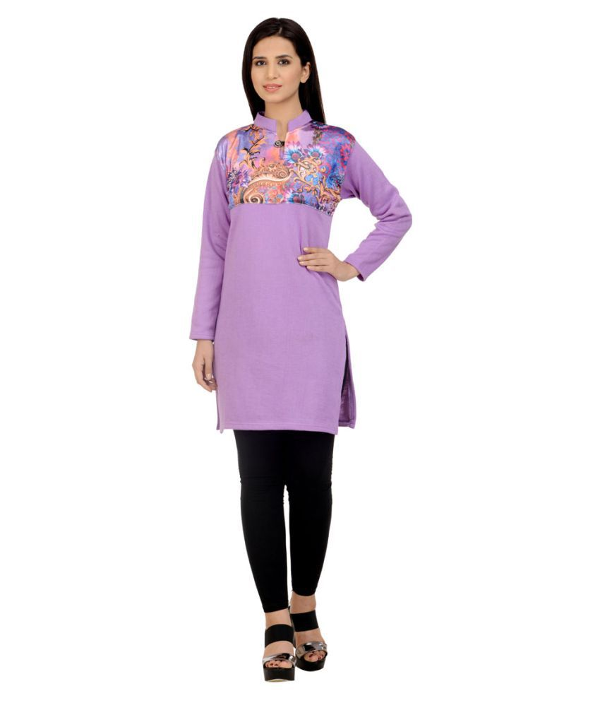 Hardy's Collection Purple Woollen Straight Self print Kurti
