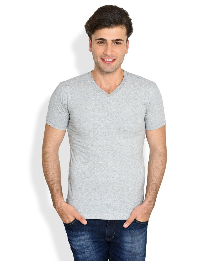 John Players Grey Solid Skinny Fit T-Shirt