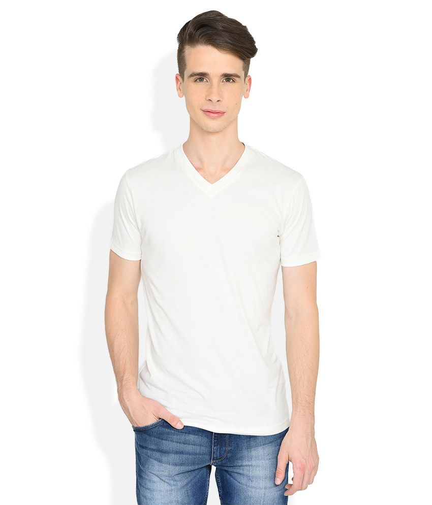 John Players White Solid Skinny Fit T-Shirt