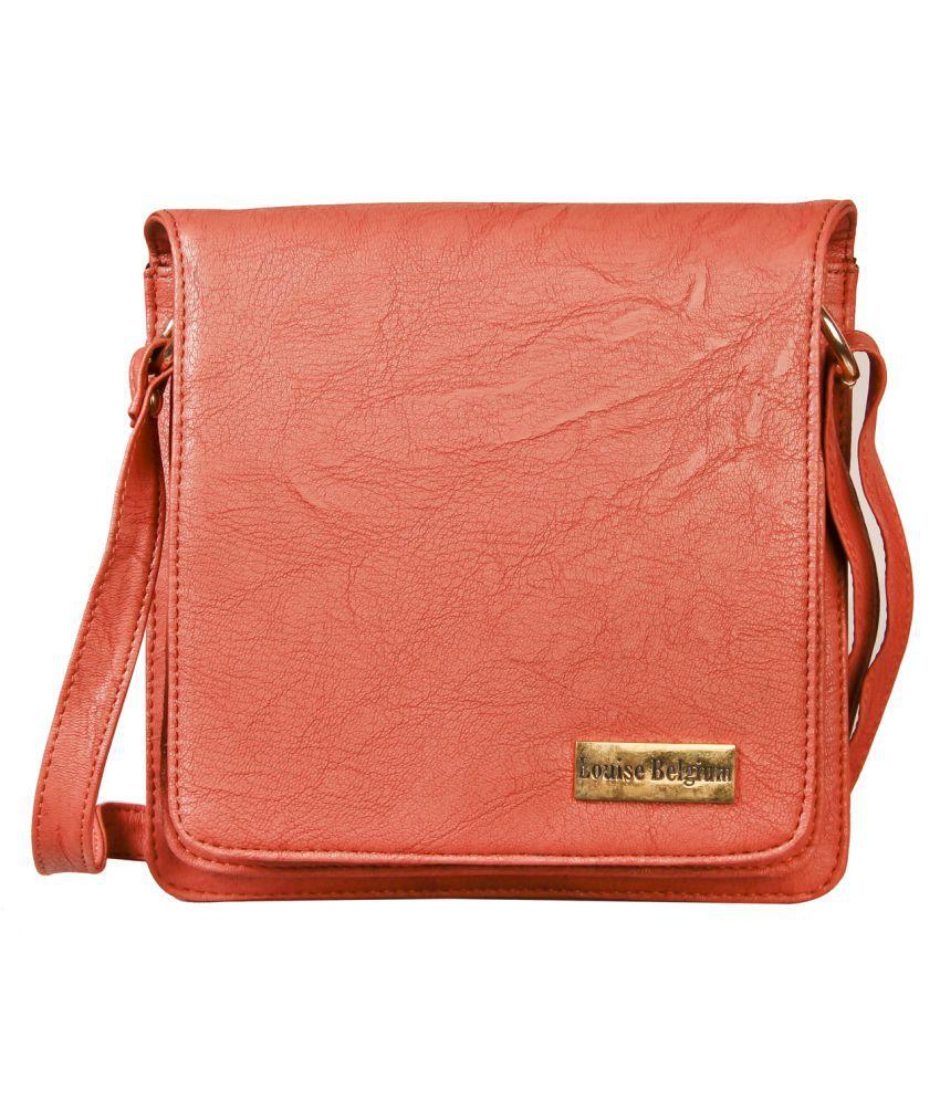 Louise Belgium Orange Faux Leather Sling Bag