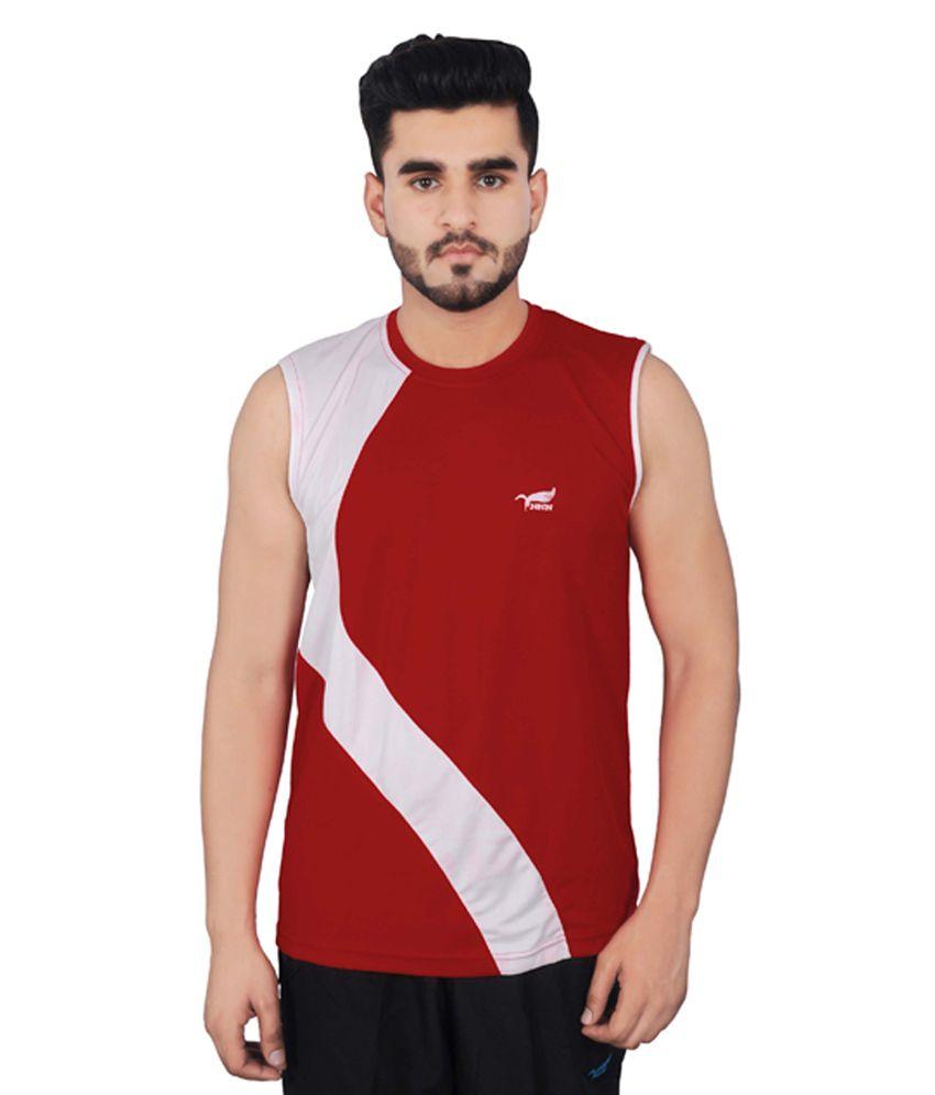NNN Red Sleeveless Dry Fit Men's T-shirt