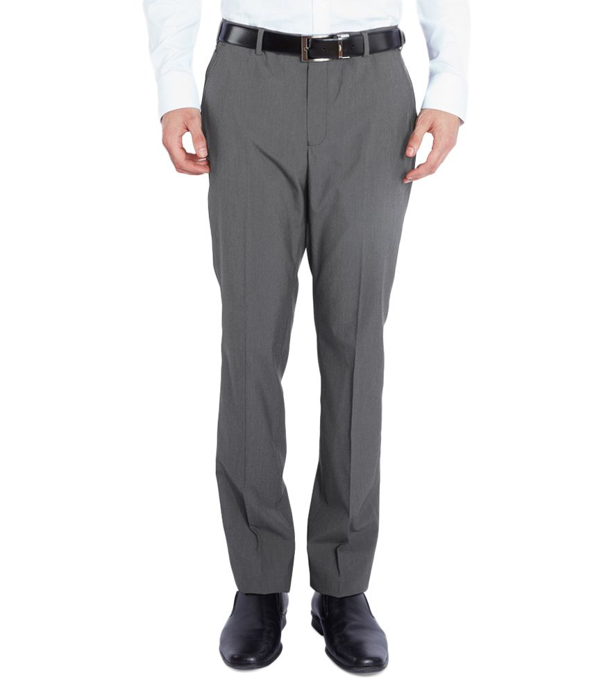 Park Avenue Grey Slim Fit Trousers