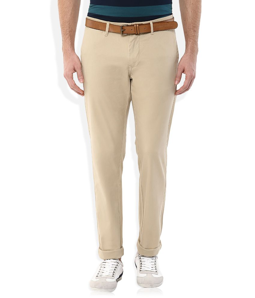 Indian Terrain Khaki Slim Fit Chinos With Belt