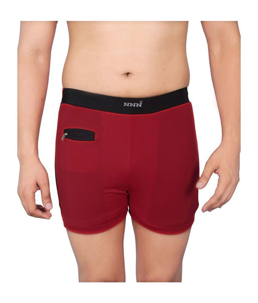 NNN Red Short Length Lycra Men's Swimming Trunk/ Swimming Costume