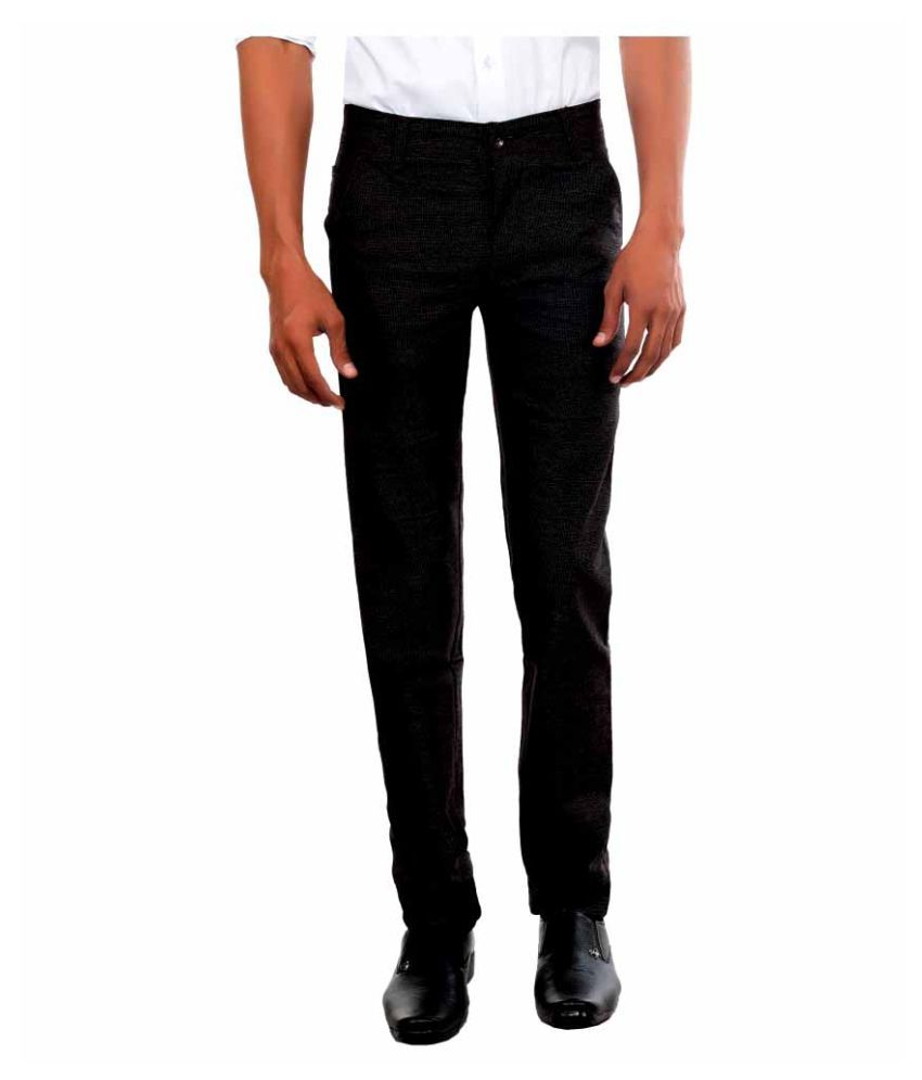 Killox Black Regular Flat Trouser