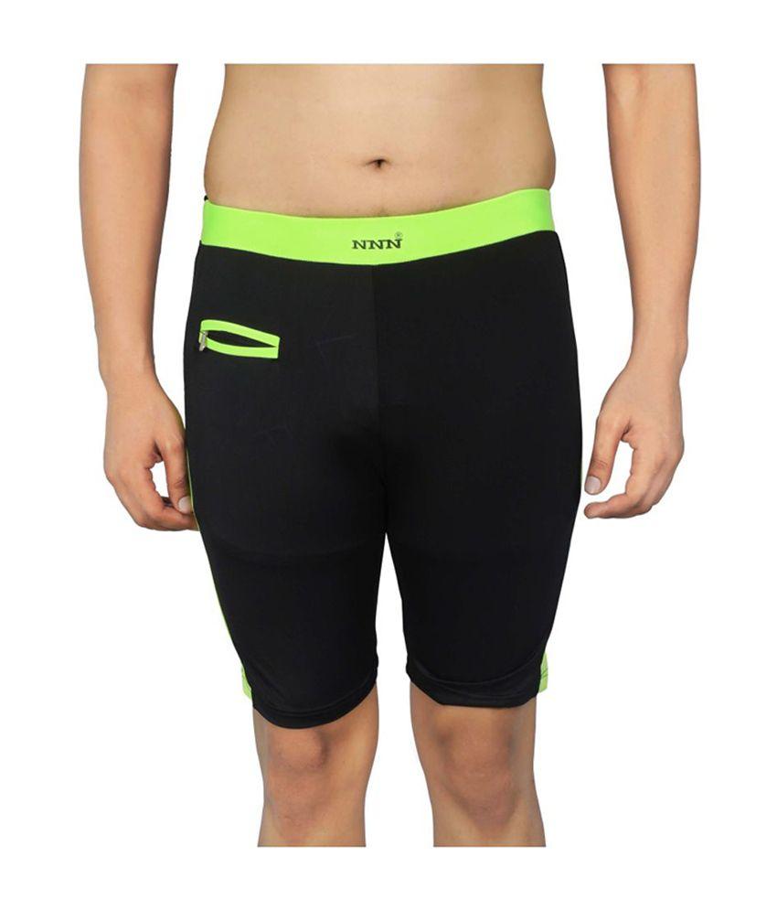 NNN Black Knee Length Lycra Men's Swimming Trunk/ Swimming Costume