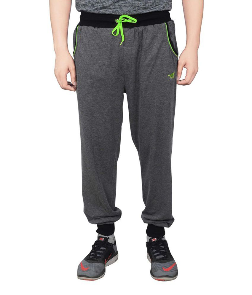NNN Men's Dark Grey Cotton Sports Full Track Pant
