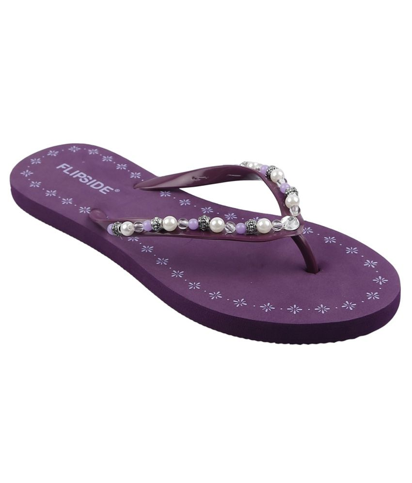Flipside Womens Pearl Purple Slippers
