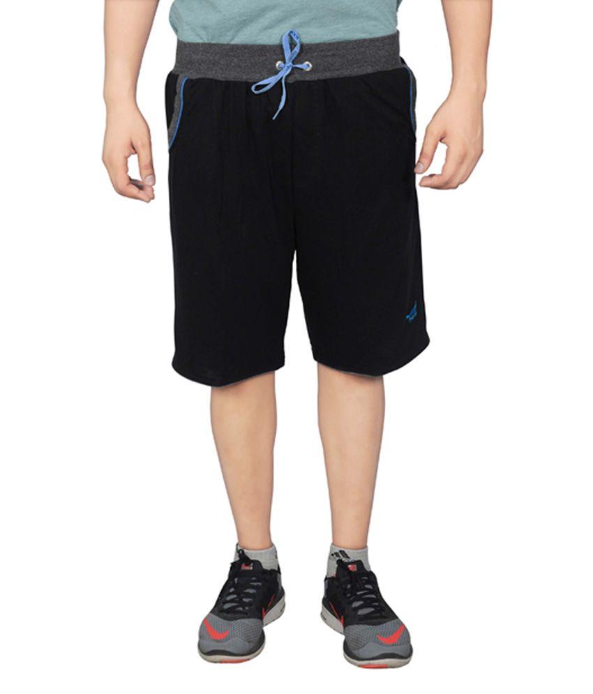 NNN Black Cotton Knee Length Men's Bermuda