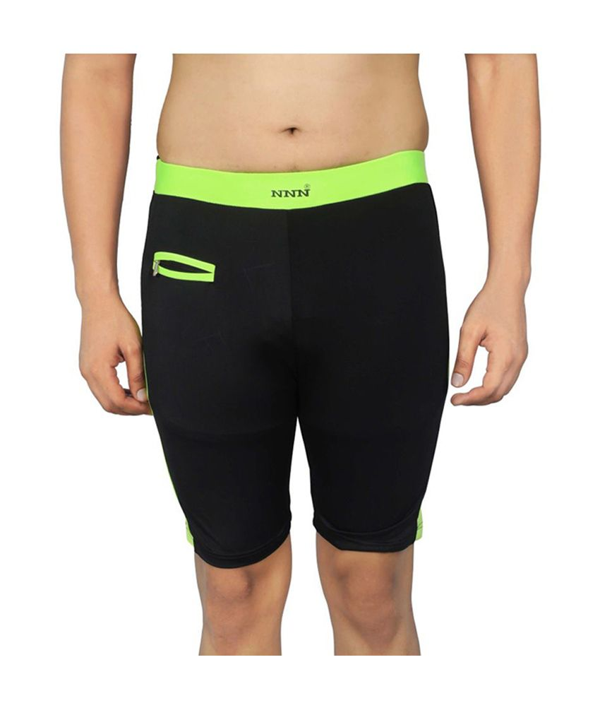 NNN Black Knee Length Lycra Men's Swimming Trunk/ Swimming Costume