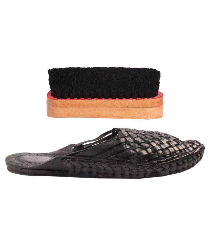 Sushito Black Mojari with Shoe Brush