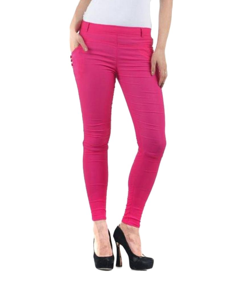 Fashion Arcade Pink Cotton Lycra Jeggings