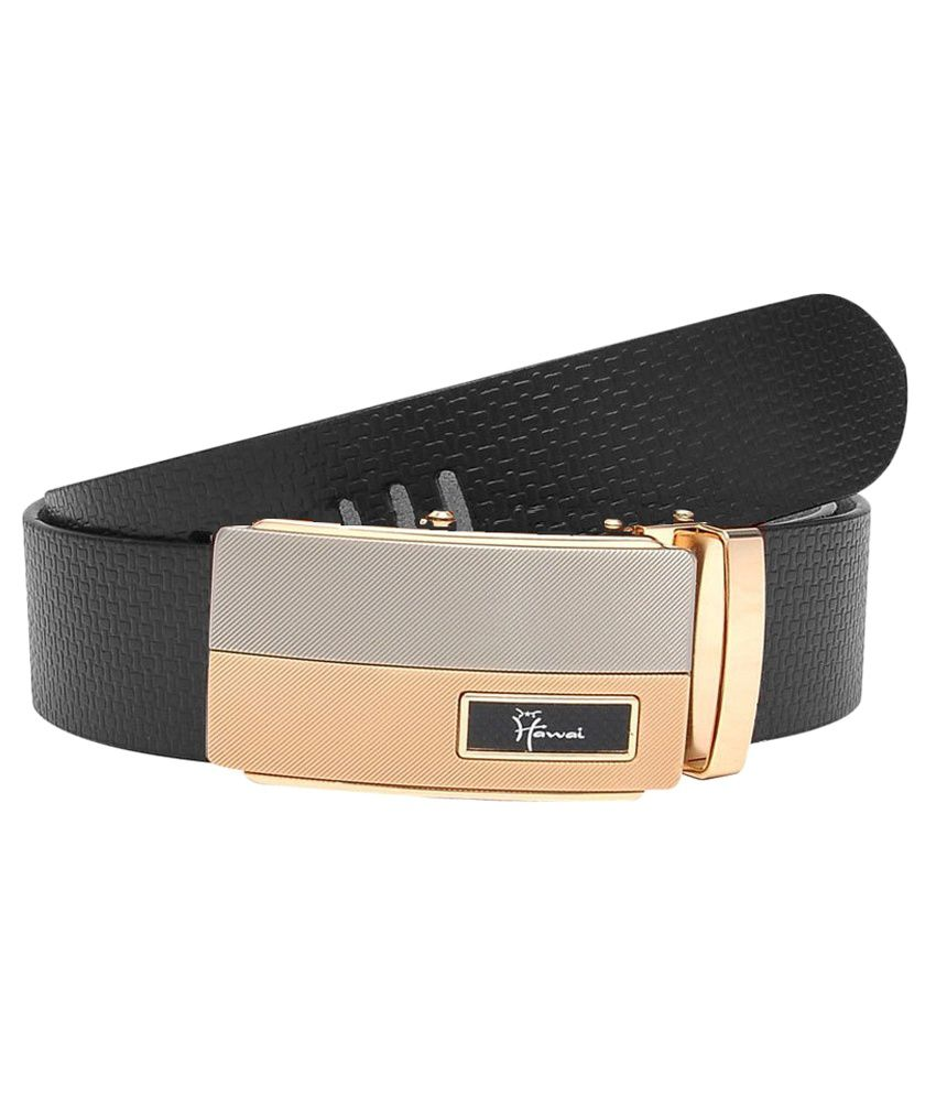 Hawai Black Leather Formal Belts