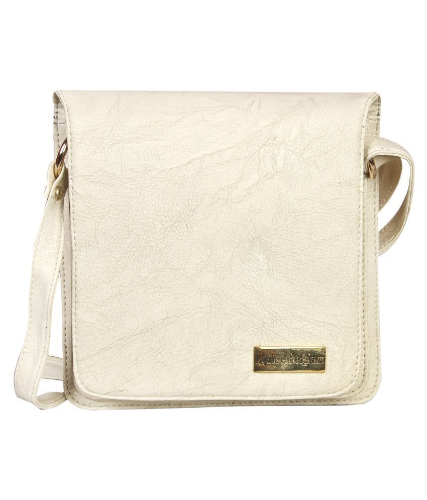 Louise Belgium White Faux Leather Sling Bag
