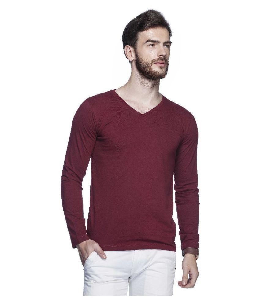 Tinted Maroon V-Neck T-Shirt