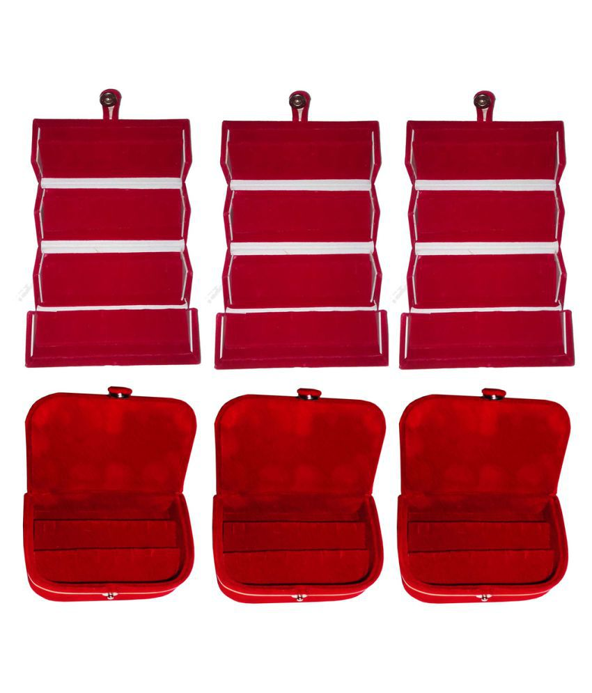 Abhinidi Red 3 Earring Folder with 3 Earring Box