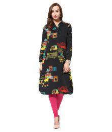 Sanit Black Crepe Shirt Style Block Printed Kurti