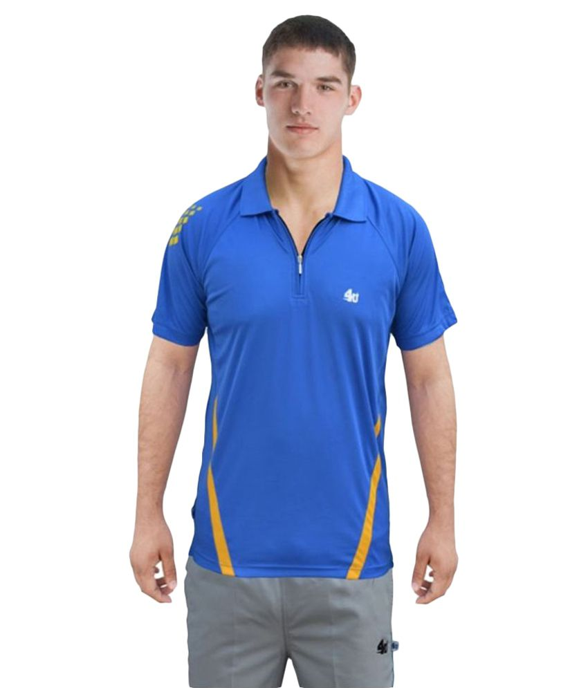 4U Blue Polyester Polo T-Shirt Single Pack