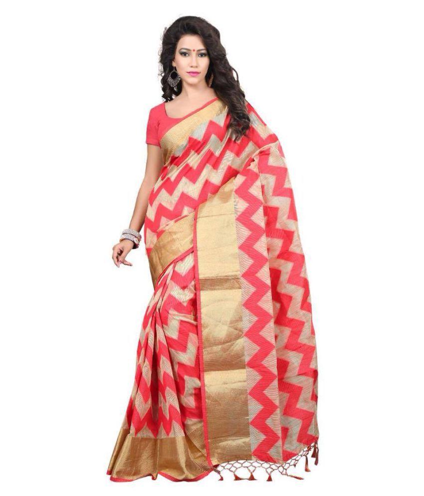 da33fdd6e756ff Silk Zone Pink Color With Golden Zari Border Bansari Net Saree Price ...