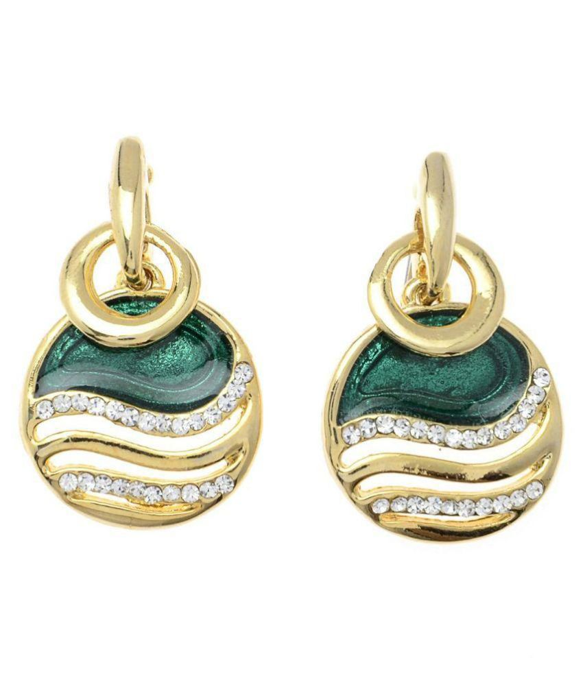 Vendee Fashion Jewels Green Hanging Earrings
