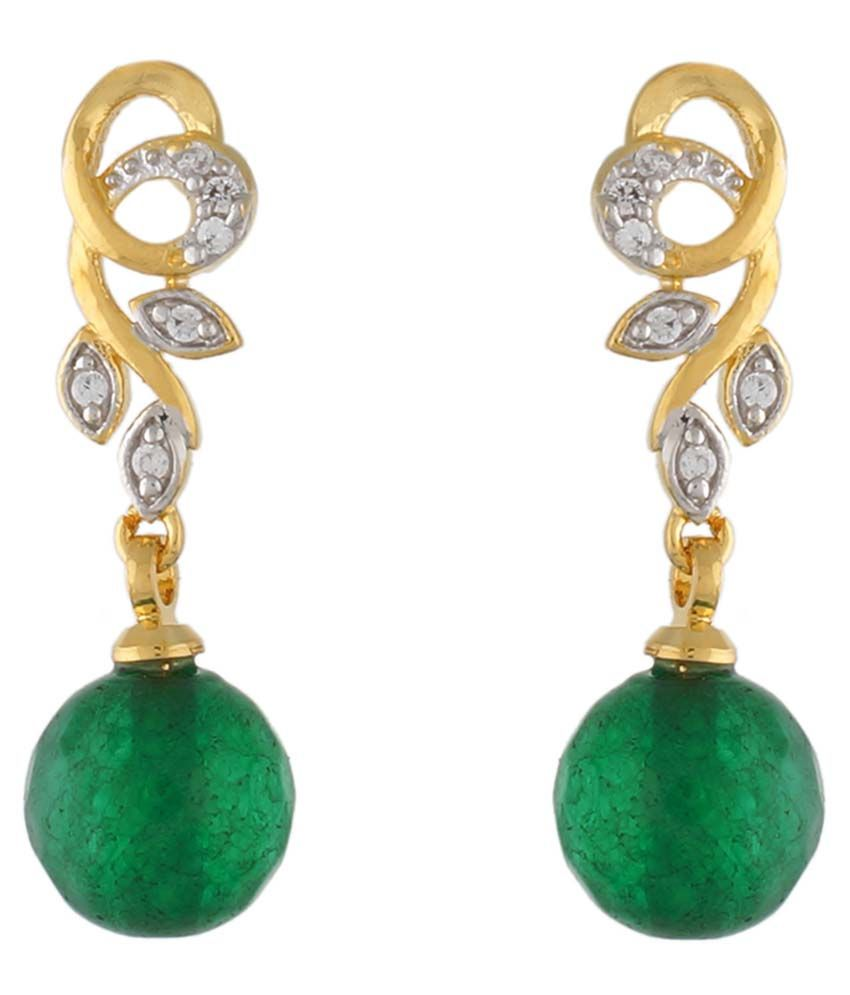 Jewel Planet Alloy Green Coloured Bead Drop Earring