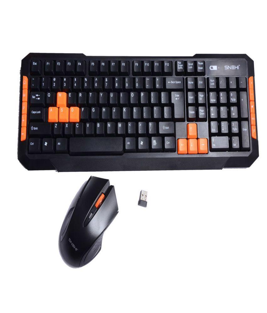 Snehi WS2000 Black Wireless Keyboard Mouse Combo