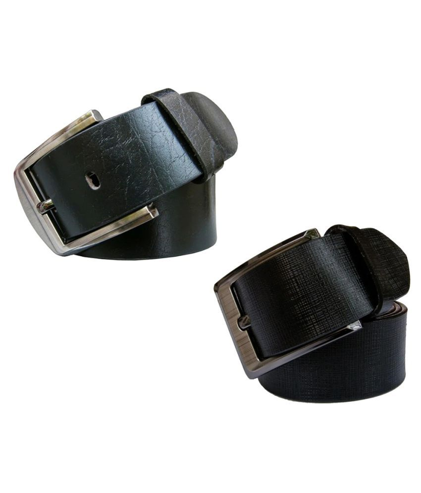 Bacchus Black Leather Formal Belts - Pack of 2