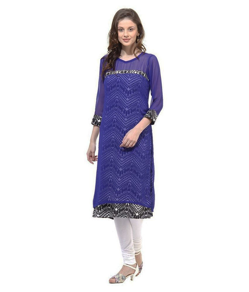 La Firangi Blue Crepe High Low hemline Abstract Kurti